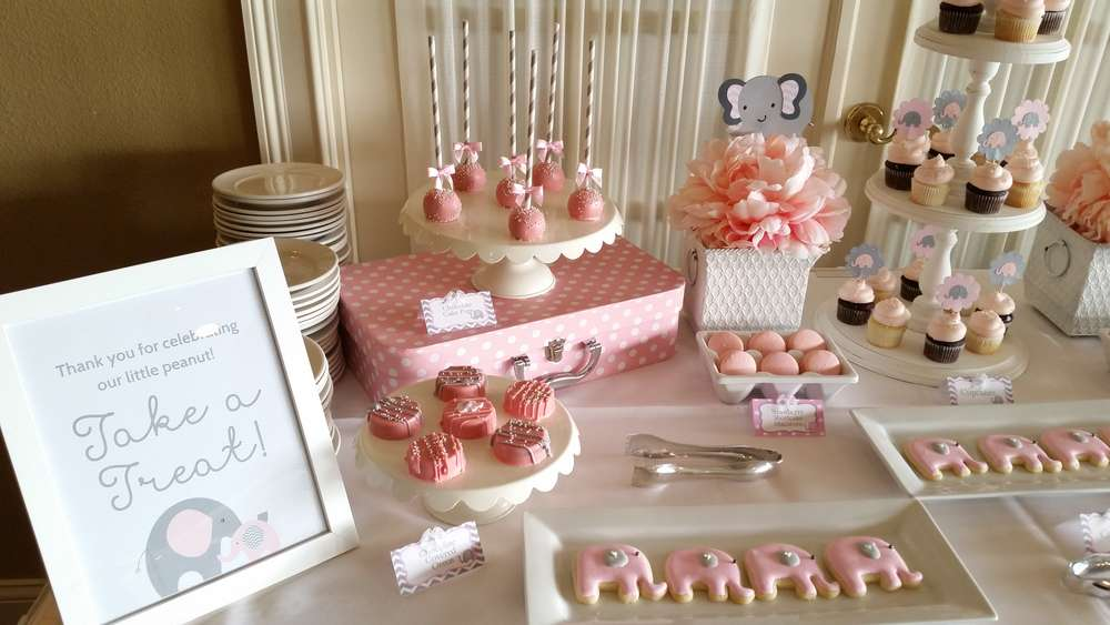 baby shower rosa y gris
