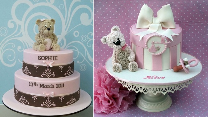 teddy tutorial on You Tube by Inspired by Michelle Cake Designs left and christening cake by Alessandra Frisoni right