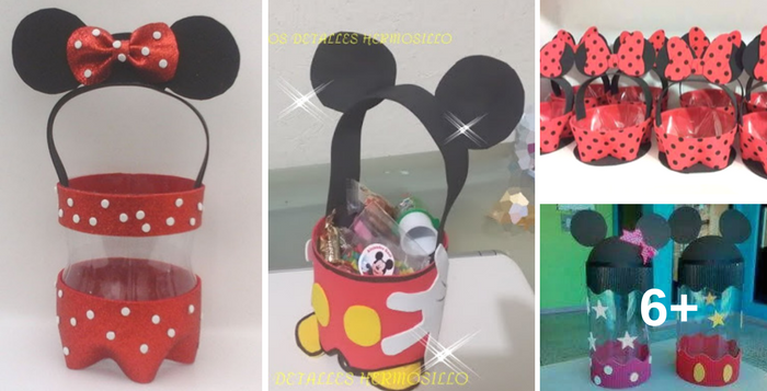 dulceros de Minnie y Mickey mouse reutilizando botellas de ...