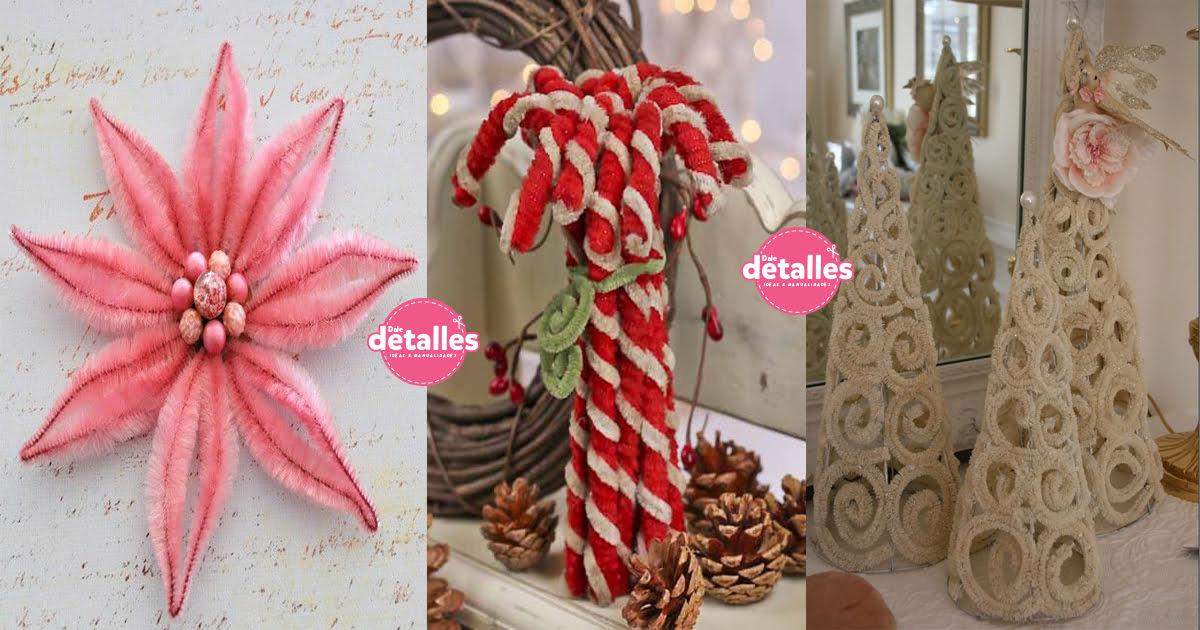 Adornos de navidad con limpia pipas o chenille dale detalles for Detalles de navidad